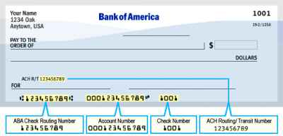Bank of America Routing Number aba how to find routing transit numbers on check for wire transfer